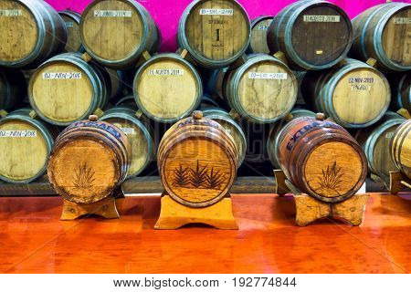 VALLADOLID MEXICO - FEBRUARY 12: Barrels of tequila in a distillery in Valladolid Mexico on February 12 2017