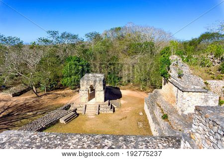 Entrance to the ancient ruined Mayan city of Ek Balam near Valladolid Mexico