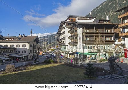 MAYRHOFEN AUSTRIA - MARCH 5 2017: The central street of Mayrhofen - a ski resort in the Austrian Alps. Sunny day in March.