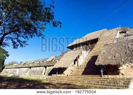 Pyramid known as The Throne in this ancient Mayan ruins of Ek Balam in Mexico