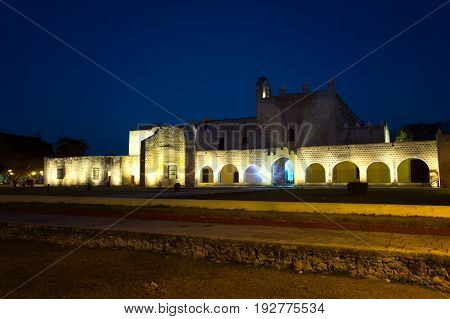 Historic monastery in the historic center of Valladolid Mexico as seen at night