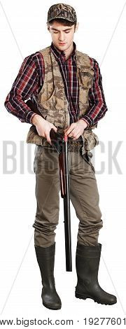 Male hunter rifle white background deer hunting deer hunter hunter with gun