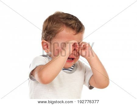 Cute baby crying isolated on a white background