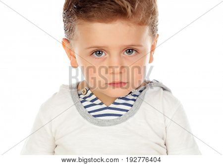 Baby with a serious expression isolated on a white background