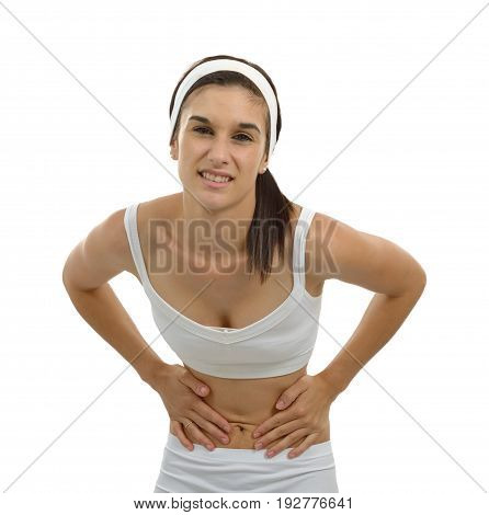 a young beautiful woman having painful stomachache on white background