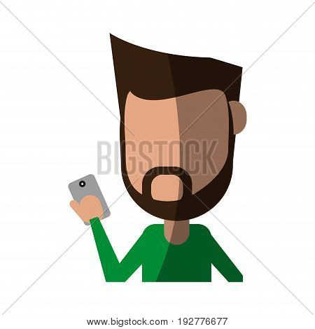 faceless bearded man using smartphone icon image vector illustration design