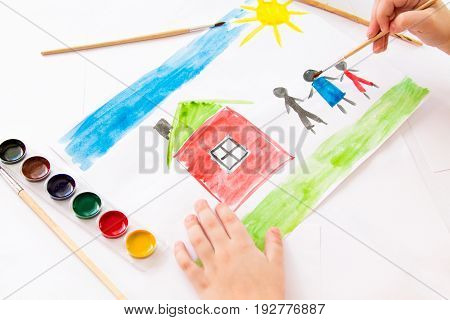 Children's watercolor drawing dream house family car happiness