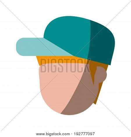 head of faceless man with hat or cap icon image vector illustration design