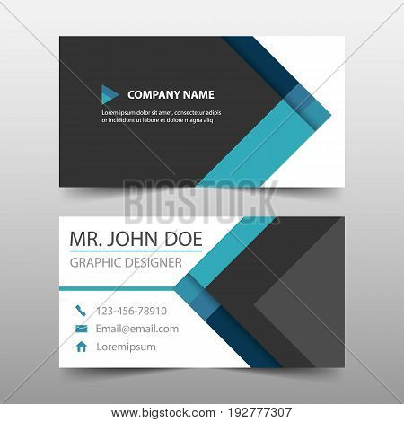 Blue triangle corporate business card name card template horizontal simple clean layout design template Business banner template for website