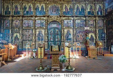UGLICH, RUSSIA - JUNE 17, 2017: Interior of the Savior's Transfiguration Cathedral. The architectural monument was founded in 1710