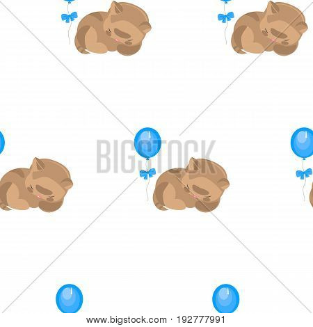 Vector flat background with Sleeping kitten. Baby shower. Wrapping paper.
