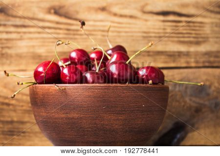 Bowl Of Ripe Red Cherries