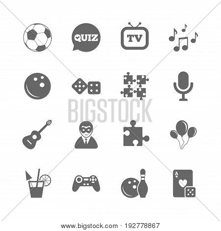 Set of Games, Entertainment and Services icons. Football, Bowling and Puzzle signs. Casino, Carnival and Music symbols. Isolated flat icons set on white background. Vector