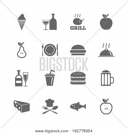 Set of Food and Drinks icons. Restaurant meal, Wine and Cheese signs. Burger, Milkshake and Beer symbols. Isolated flat icons set on white background. Vector
