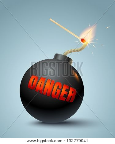 Vector illustration of a bomb and match in fire and sparks. Danger.