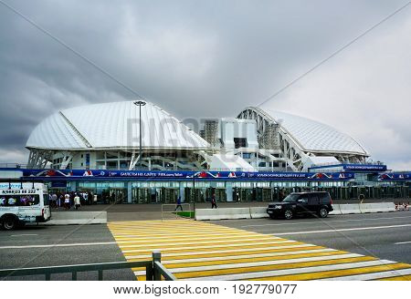 Sochi Russia - May 31 2017: Olympic park and Fisht stadium built for Winter Olympic Games 2014 and football stadium for 2017 FIFA Confederations Cup and 2018 FIFA World Cup