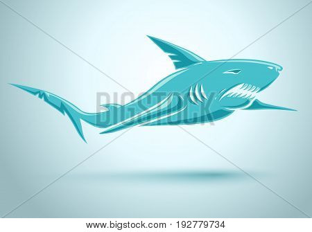 Vector sport logo with blue shark. Vector blue shark.
