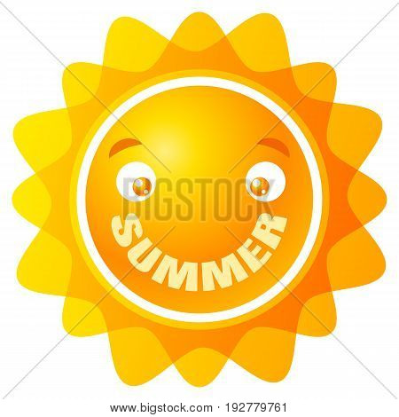 Vector logo sun with smile. Summer smile.