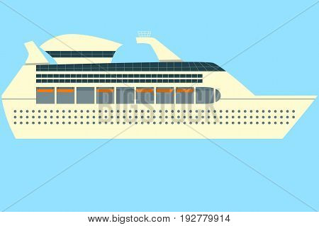 Concept of isolated Cruise ship vector in ocean