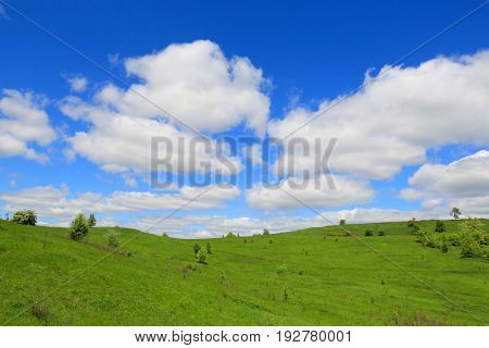 landscape with green hills under nice clouds in sky