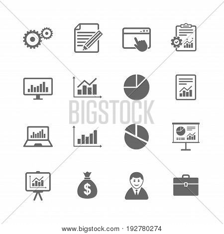Set of Statistics, Accounting and Report icons. Charts, Presentation and Pie-chart signs. Analysis, Money bag and Business case symbols. Isolated flat icons set on white background. Vector