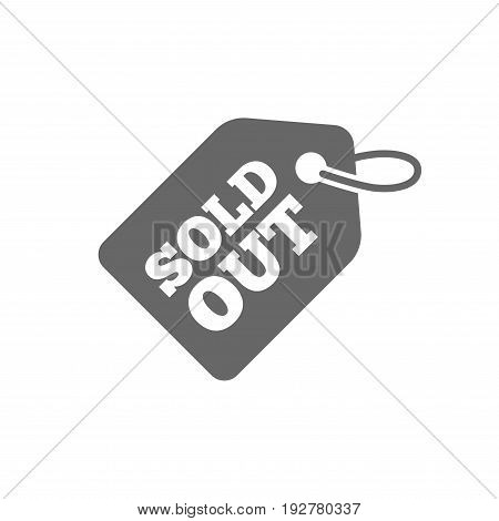 Sold out tag icon. Shopping message sign. Special offer banner symbol. Isolated flat icon on white background. Vector