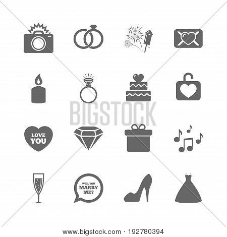 Set of Wedding and Engagement icons. Cake with heart, Gift box and Letter signs. Dress, Fireworks and Musical notes symbols. Isolated flat icons set on white background. Vector