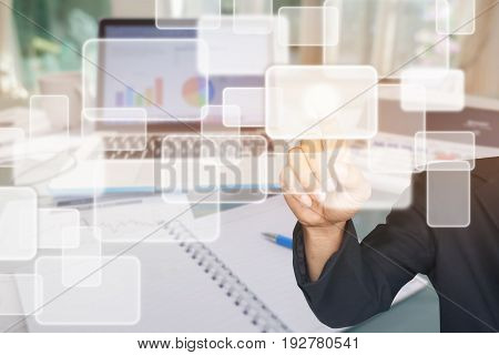 Double exposure of business man pushing on graphic icon