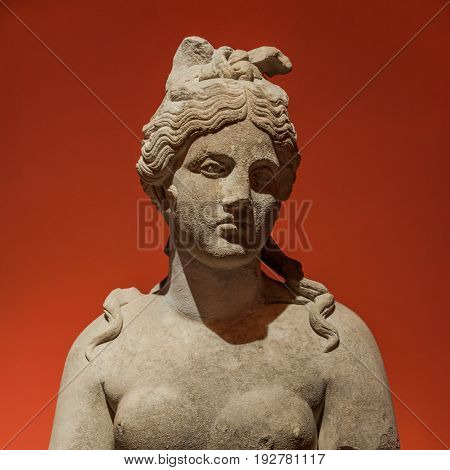 Portrait Of Beautiful Goddess Venus Realized In Stone