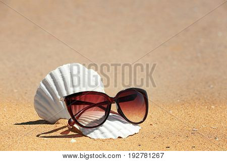 Sunglasses and shells on sand at sea shore. Vacation concept