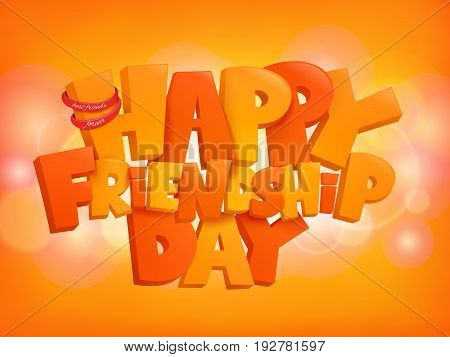 Happy friendship day design text elements on shiny background. Vector illustration