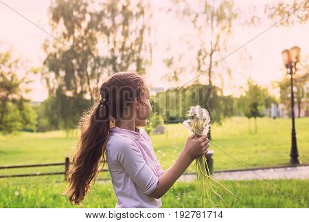 Beautiful child with dandelion flower in sunny spring park. Happy kid having fun outdoors at sunset.