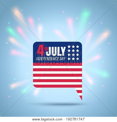Vector icon of a flag USA for 4th july with fireworks. American independence day