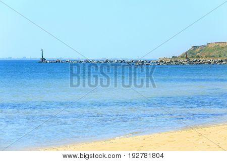 Sand, sea and beautiful blue sky at resort