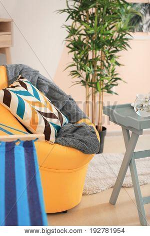 Cozy armchair with pillow in beautiful veranda interior