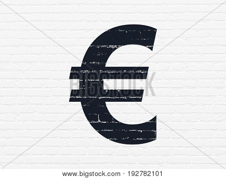 Banking concept: Painted black Euro icon on White Brick wall background