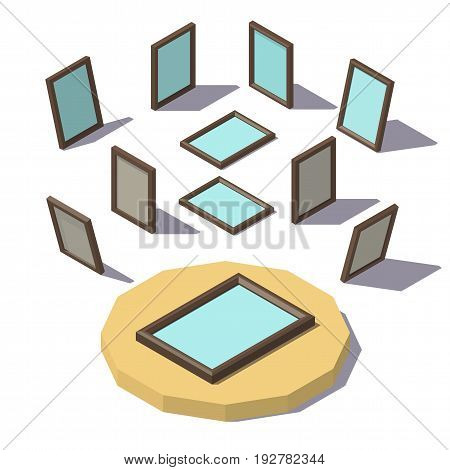 Vector isometric low poly Picture Frame. Vector low poly illustration.