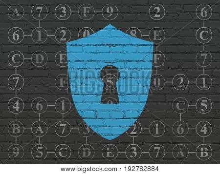 Privacy concept: Painted blue Shield With Keyhole icon on Black Brick wall background with Scheme Of Hexadecimal Code
