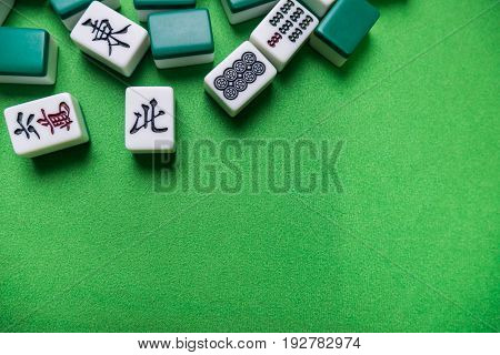 Mahjong tiles the chinese korea japanese game on Green background