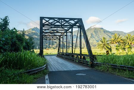 Old metal girder and wood bridge on the road to Hanalei from Princeville in Kauai, Hawaii