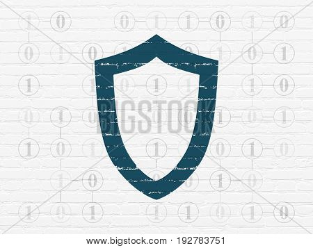 Protection concept: Painted blue Contoured Shield icon on White Brick wall background with Scheme Of Binary Code