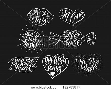 Hand drawn romantic vector quote set in different shapes. Handwritten with brush pen. Collection of 7 quotes for print, greeting cards and photo overlays.