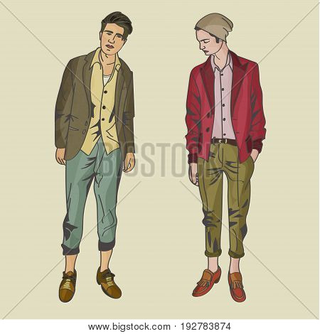 Modern Male Hipster Models vector for your ideas