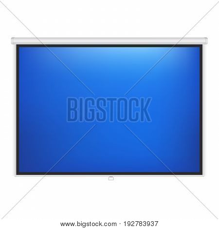 Blue projection vector screen. Presentation realistic board.