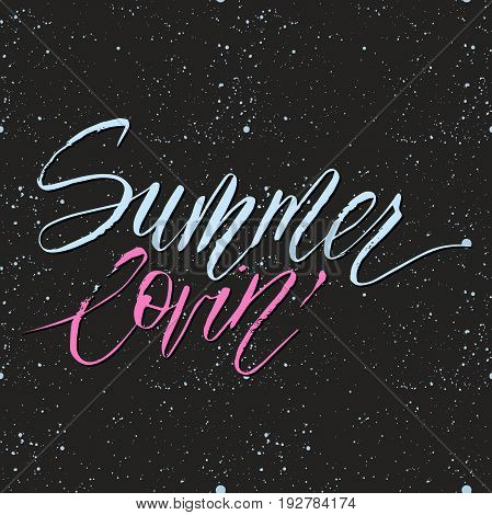 Summel lovin'. Vector lettering summer card. Handdrawn positive unique calligraphy for print, greeting cards and photo overlays.