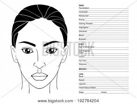 Arabian female face chart blank for professional make-up artists. Beautiful middle eastern or latin american woman. EPS 10 vector illustration isolated on white.