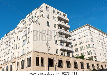 Big white apartment house seen in Berlin, Germany