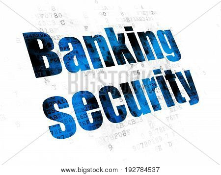 Safety concept: Pixelated blue text Banking Security on Digital background