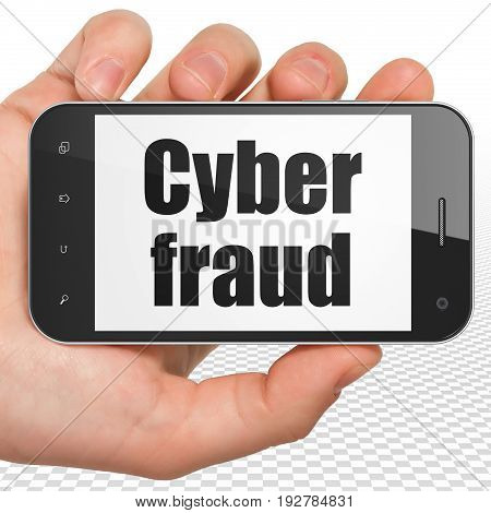 Privacy concept: Hand Holding Smartphone with black text Cyber Fraud on display, 3D rendering