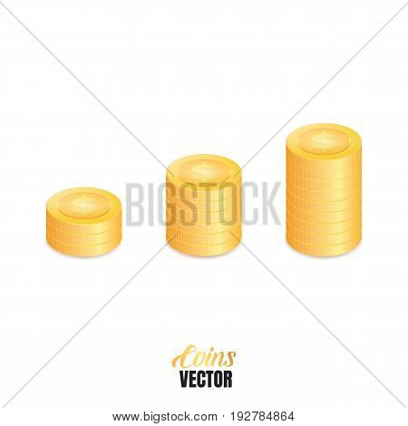 Coins stacks. Financial growth concept illustration. Money isolated
